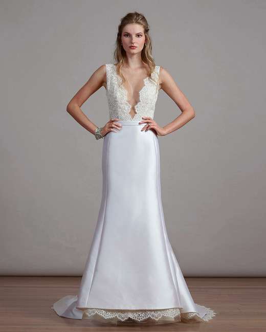 liancarlo v-neck lace wedding dress