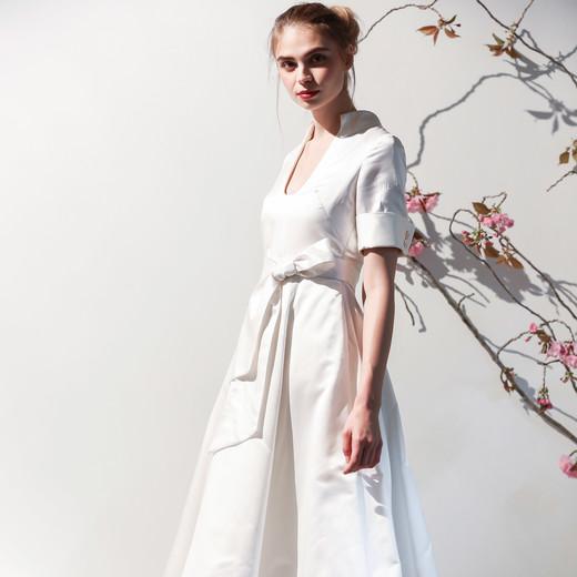 Mason Hosker bow v-neck a-line wedding dress spring 2018