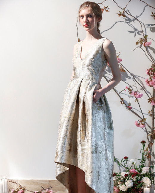 Mason Hosker v-neck gold detail wedding dress spring 2018