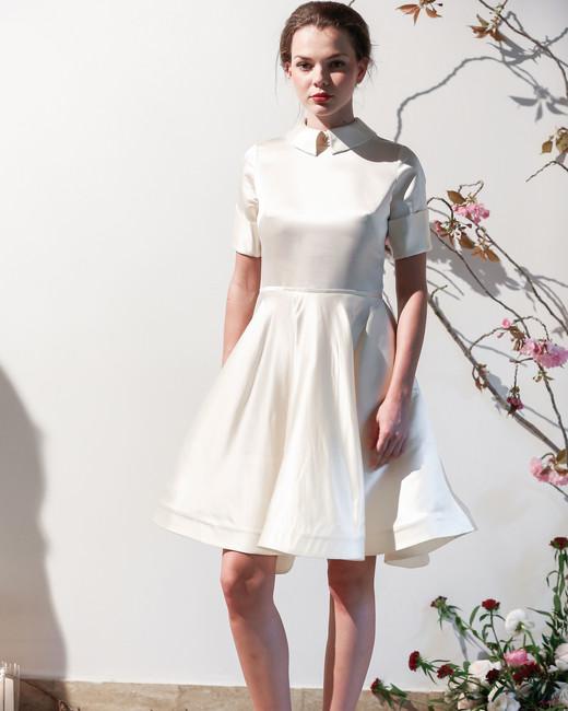 Mason Hosker collared short wedding dress spring 2018