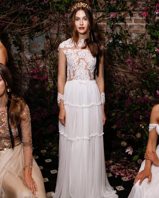 long sleeves sheath sarah seven wedding dress spring 2018