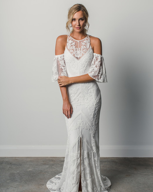 grace loves lace high neckline flutter sleeve spring 2018 wedding dress