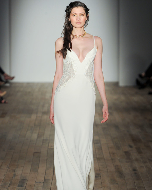 spaghetti strap sheath Hayley Paige Spring 2018 Wedding Dress Collection
