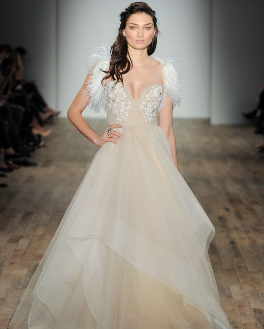 feather organza ball gown Hayley Paige Spring 2018 Wedding Dress Collection