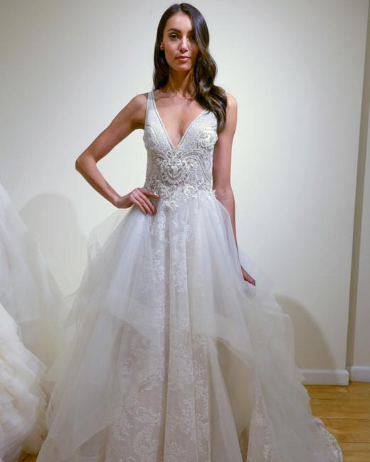 eve of milady low v-neck wedding dress spring 2018