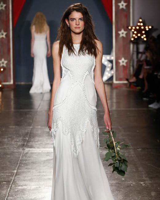 jenny packham wedding dress spring 2018 high neck embellished sheath