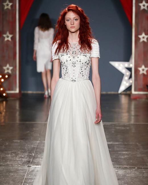 jenny packham wedding dress spring 2018 high neck short sleeve