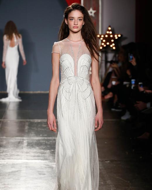 jenny packham wedding dress spring 2018 illusion neckline cap sleeve