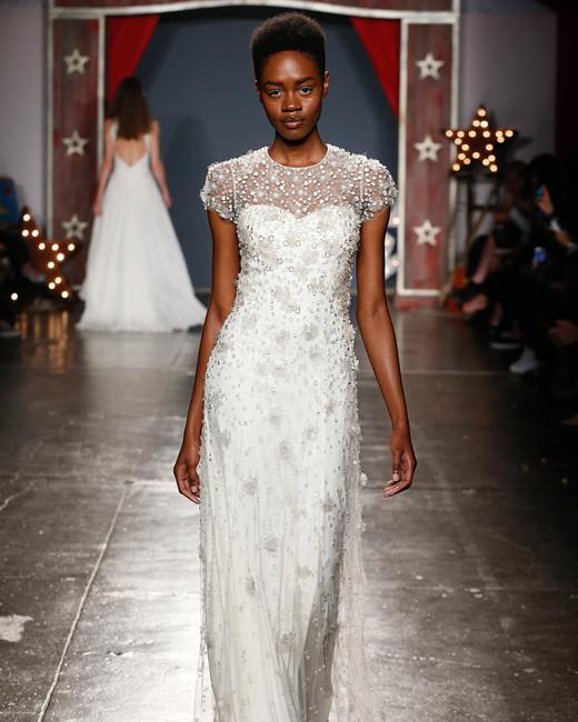 jenny packham wedding dress spring 2018 cap sleeve embroidered overlay