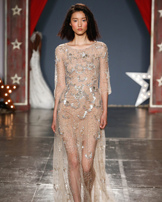 jenny packham wedding dress spring 2018 sheer nude silver embellishments