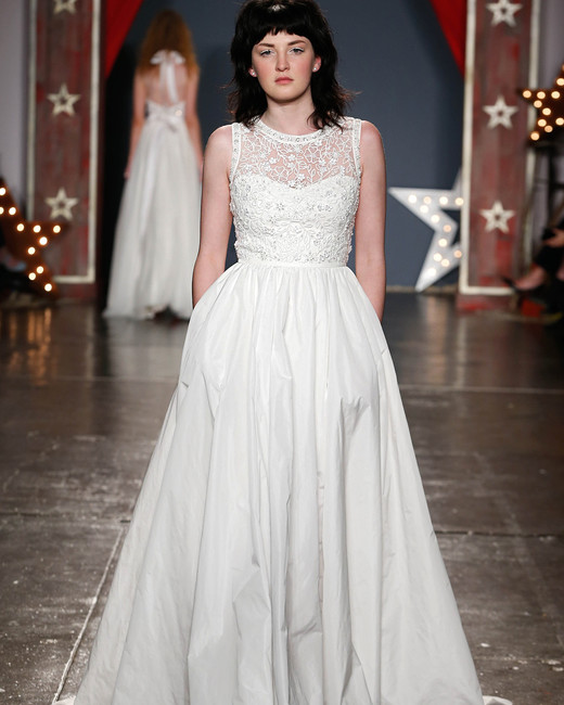 jenny packham wedding dress spring 2018 illusion sweetheart high neck