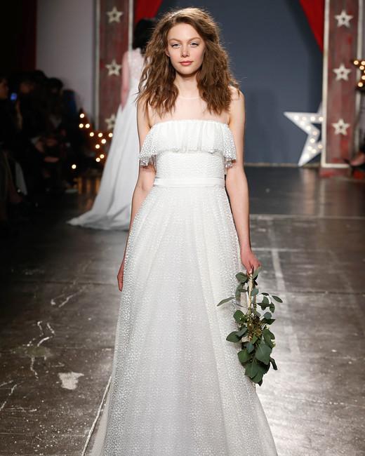 jenny packham wedding dress spring 2018 illusion neckline ruffled bodice