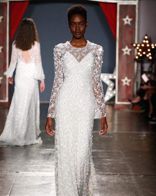 jenny packham wedding dress spring 2018 high-neck embellished long sleeves