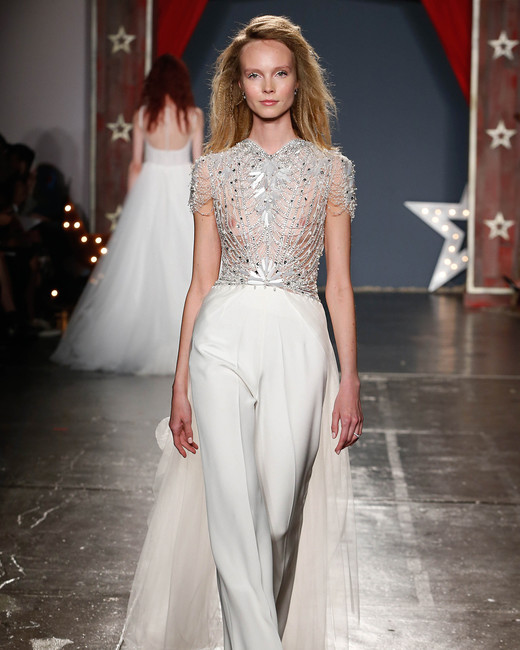 jenny packham wedding dress spring 2018 sheer embroidered bodice pants