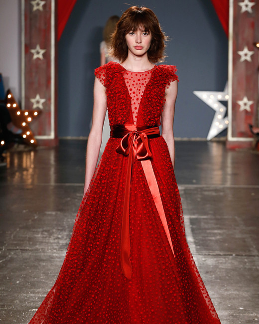 jenny packham wedding dress spring 2018 red cap sleeve belt sash
