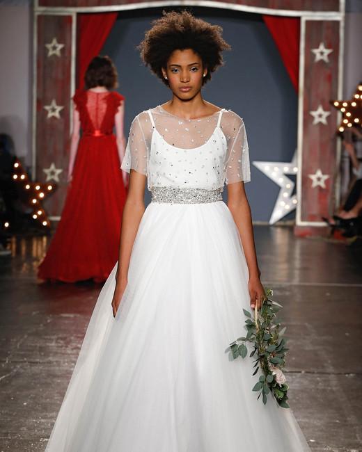 jenny packham wedding dress spring 2018 spaghetti strap overlay ballgown