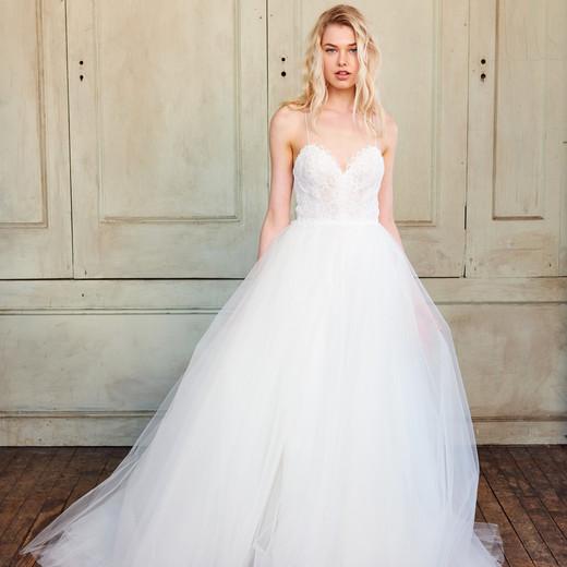 amsale christos spaghetti strap tulle wedding dress spring 2018