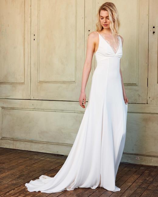 amsale christos v-neck sheath wedding dress spring 2018