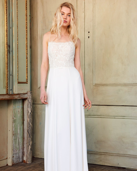 amsale christos spaghetti strap lace wedding dress spring 2018