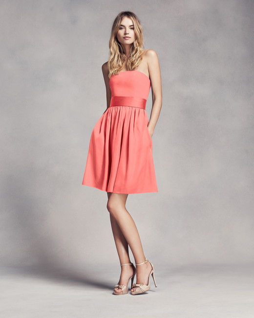 coral bridesmaid dress vera wang love