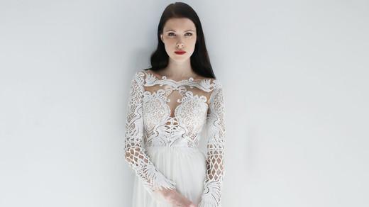 long sleeve sheath leanne marshall wedding dress spring2018