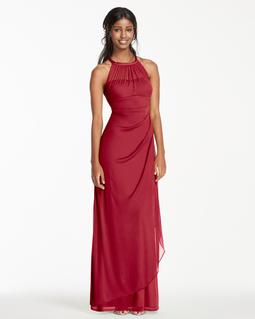 red bridesmaid dress davids bridal F15662 mesh