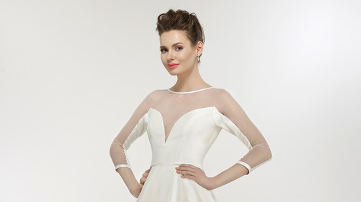 steven birnbaum wedding dress spring 2018 illusion neck a-line