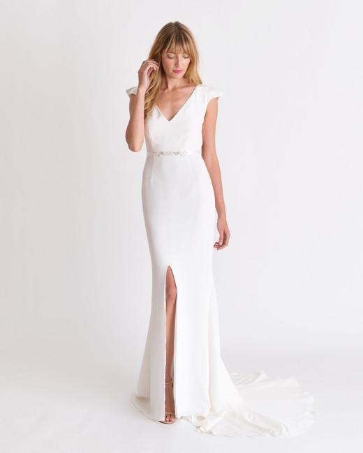 alexandra grecco v-neck shoulder detail wedding dress spring 2018