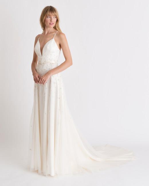 alexandra grecco v-neck spaghetti strap wedding dress spring 2018