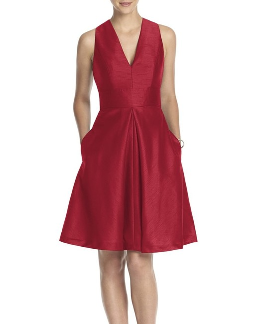 red bridesmaid dress alfred sung v-neck dupioni