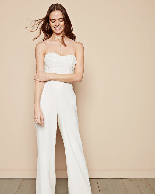 ivory strapless crepe jumpsuit davids bridal