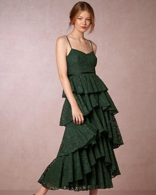 winter bridesmaid dress bhldn lucy emerald tiered