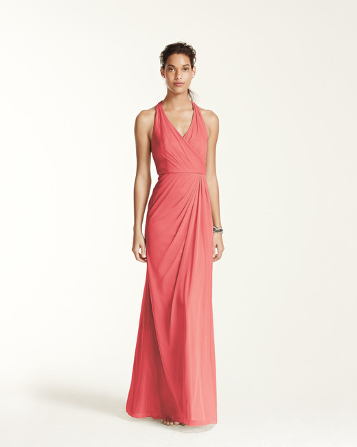 coral bridesmaid dress davids bridal F15983 halter