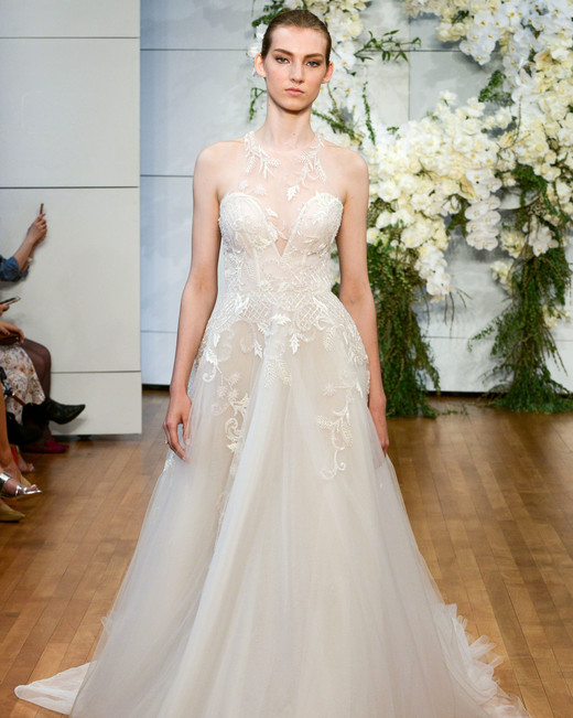 monique lhuillier illusion tulle a-line wedding dress spring 2018