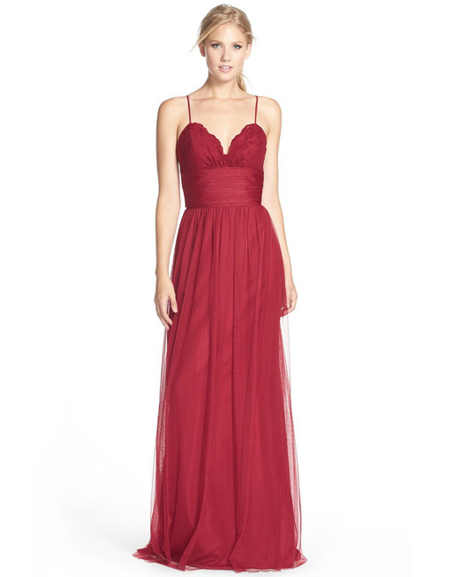 red bridesmaid dress amsale lace tulle spaghetti strap