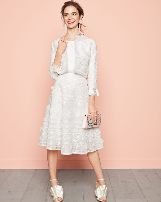white floral embroidered skirt suit oscar de la renta