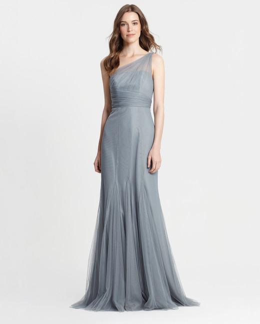 winter bridesmaid dress monique lhuillier sea one shoulder