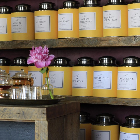 The beautiful yellow tea tins at Bellocq in Greenpoint