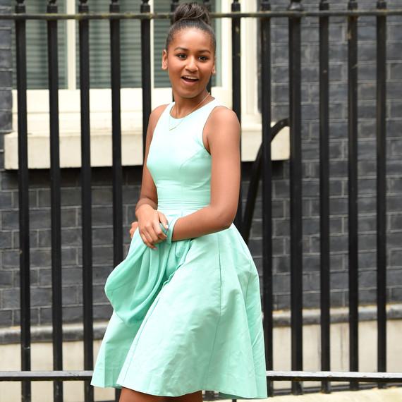 Sasha Obama in Minty Blue Dress and Sleek Bun