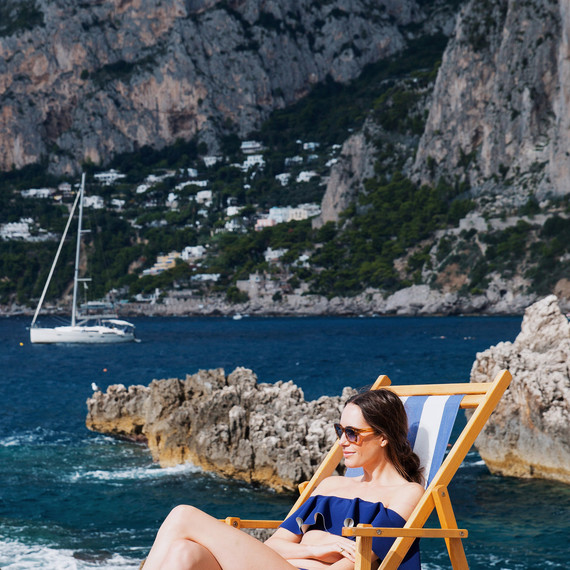 louise roe honeymoon italy beach swimsuit blue