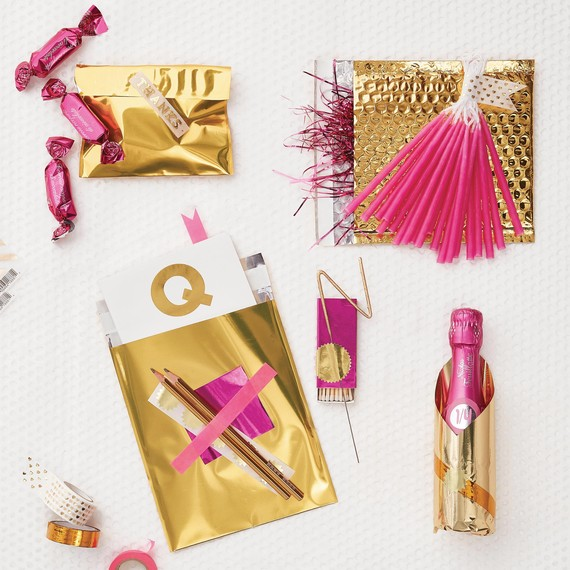 DIY party favors pink and gold