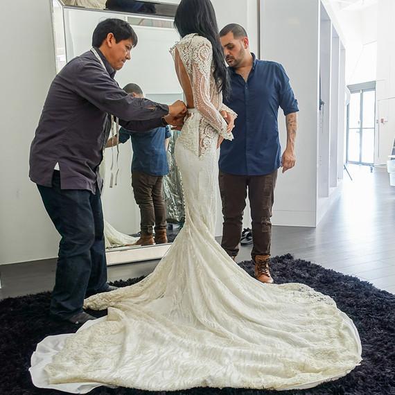 Nicole Williams wedding dress fitting with designer Michael Costello