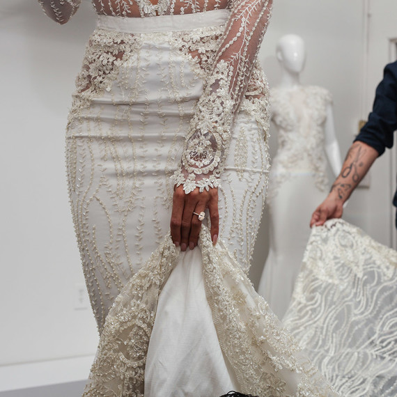 Lace details on Nicole Williams wedding dress by Michael Costello