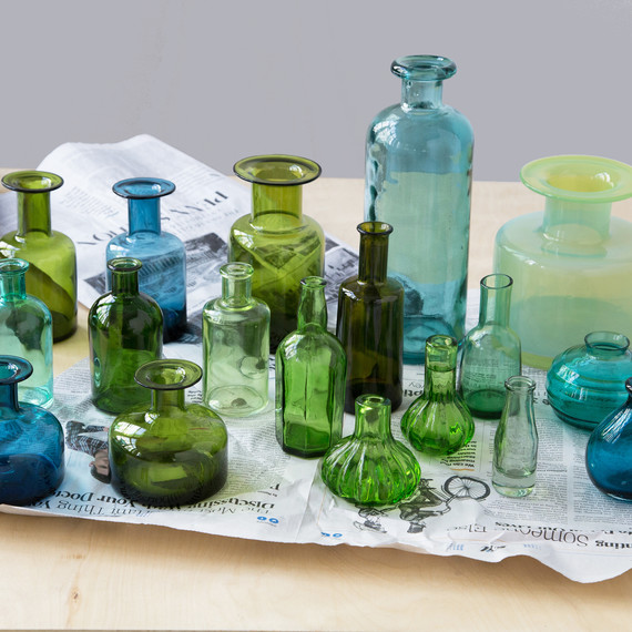 Mismatched Colored Vases