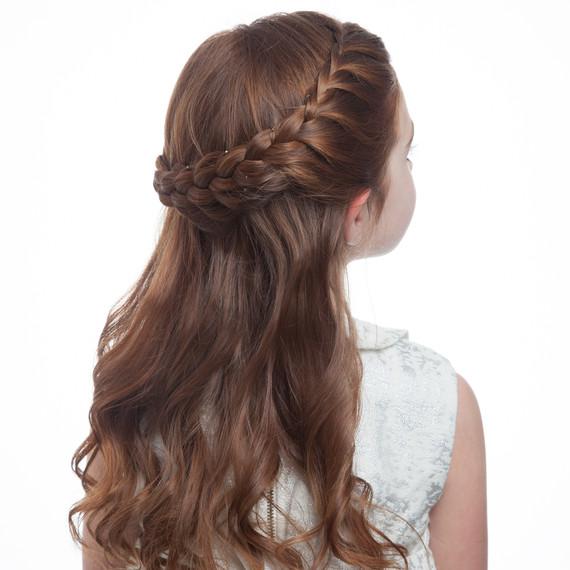 Peachy Flower Girl39S Braided Half Up Half Down Hairstyle Martha Stewart Hairstyle Inspiration Daily Dogsangcom