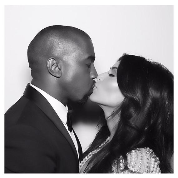kim kardashian kanye west photo booth kiss