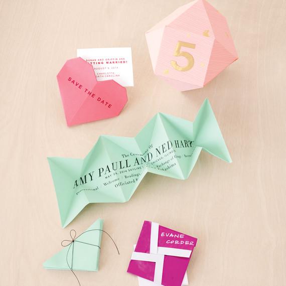 folded origami escortcard holders martha stewart weddings