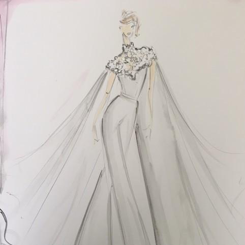 lauren morelli wedding dress sketch