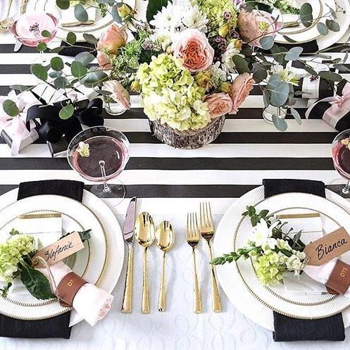 Striped tablescape