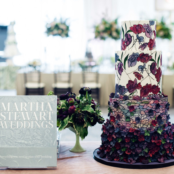 martha stewart weddings party stained glass cake